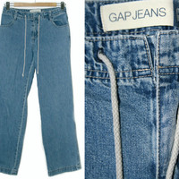 Vintage Gap Pants~Size Small/Medium~Waist 28~90s High Waisted Blue Denim Drawstring High Waisted Jeans~By Gap Jeans