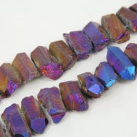 Large Rough Rainbow Purple Titanium Quartz Cut Points Necklace,Raw Crystals Top Drilled Stick Beads Pendants Bulk Strand
