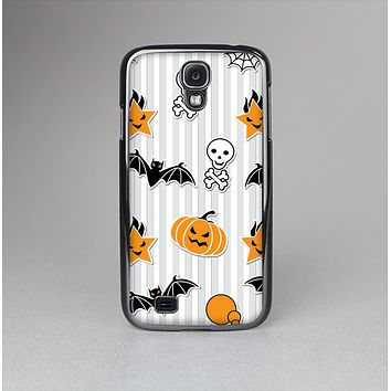 The Halloween Icons Over Gray & White Striped Surface  Skin-Sert Case for the Samsung Galaxy S4
