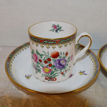 Spode Lowestoft Flowers Cup & Saucer Pair Vintage 2 Flat Cups and 2 Saucers Breakfast Cup Fine Bone China Made in England Replacement China
