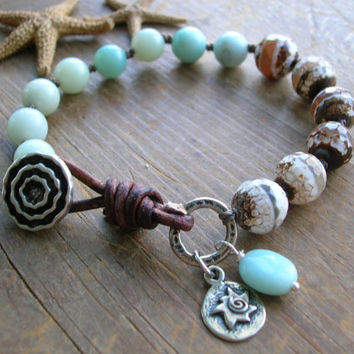 Knotted bracelet - Here Comes the Sun - Boho jewelry wrap artisan bronze, amazonite charm bracelet leather beach jewelry, bohemian, sky blue
