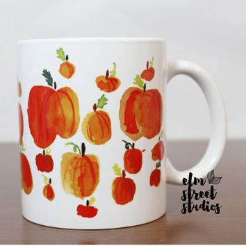 Pumpkin Mug  Fall  Watercolor Mug Fall Themed Mug Coffee Lover Watercolor Mug