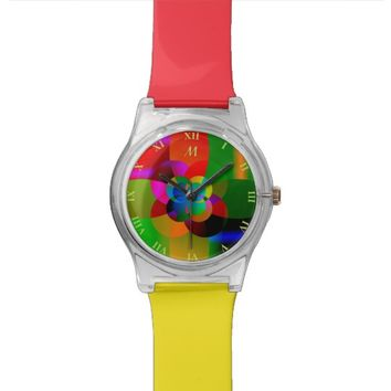 Abstract Cool Cute Fractal Neon Psychedelic Watches