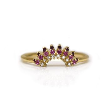 14kt Gold Pink Sapphire Cote D'Azur Ring