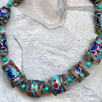Nepali Tibetan Necklace,Turquoise Coral Necklace,Nepalese,Carve Ethnic Necklace,Tibetan Jewelry,Boho Gypsy Necklace,Festival Hippie Necklace