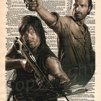 The Walking Dead Daryl Dixon and Rick Grimes Dictionary Art Print