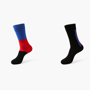 Monochromatic Color 2 Sock Set (Blue & Red)