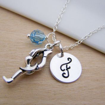 Figure Skating Charm Swarovski Birthstone Initial Personalized Sterling Silver Necklace / Gift for Her