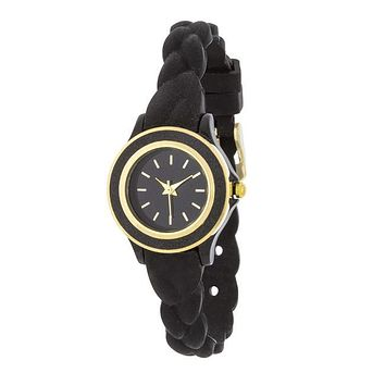 Carmen Braided Watch with Black Rubber Strap