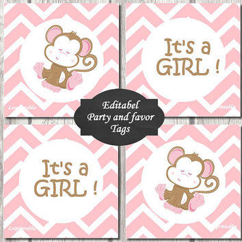 Editable-baby monkey Gift Tags Printables - Personalized - pink chevron Gift Tag