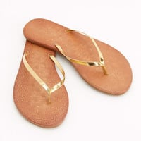 Embossed Whale Leather Flip Flops