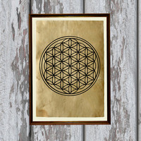 Mandala print Flower of life poster Sacred geometry decoration 8.3 x 11.7 inches