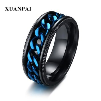 8mm Mens Spinner Rings Turnable Black Color Stainless Steel Edges Embossing Lines Weeding Engament Brands Punk Male Gifts