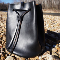 Black Leather Drawstring Bag // Bucket // Sling Backpack // Shoulder Bag // Horween Leather // Hand Stitched / USA
