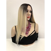 Blond Ombre' Two Tone Swiss Lace Front Wig   Long Soft Layered Hair   Dasarah