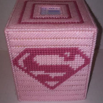 Super Woman Tissue Box Cover, Girl Power Decor, Pink Tissue Box Cover, Super Hero Box, Tissue Box, Plastic Canvas Decor, Get Well Gift, Pink
