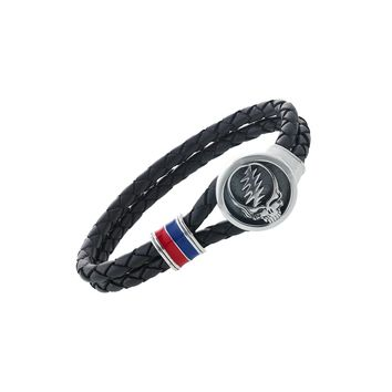 Steal Your Face Sterling Silver, Blue and Red Enamel & Leather Bracelet