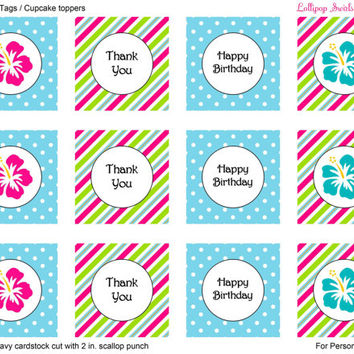 Hibiscus Flower Girls DIY Printable Mini Birthday Bundle / Invitation / Thank You Card / Favor Tags or Cupcake Toppers