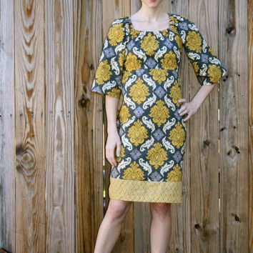 Retro 70's Inspired Damask Dress, Women's Bell Sleeved Dress in Gray and Gold  XS, S, M, L, XL, XXL, 3X