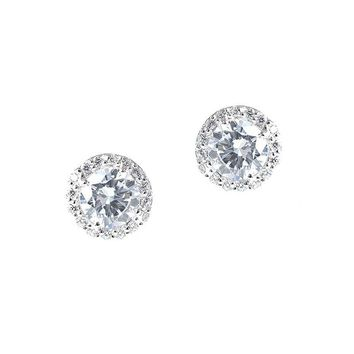 White Gold Round Stud Earring Ring Jewelry Set e6797a5771
