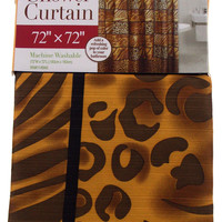 "Brown Animal Print Shower Curtain Water Repellent Fabric 72""x72"" Leopard Stripes"