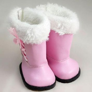 New Arrival Cute Pink Boots For American Girl Fashion 18 Inch Baby Doll Accessories Shoes