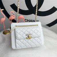 CHANE SIZE 19x17x6 CM Double C silver and gold on Chain cross body bag Chane vintage Chanl jumbo Crossbody Satchel Shoulder Bag Monogram Tote Handbag Bags Best Quality