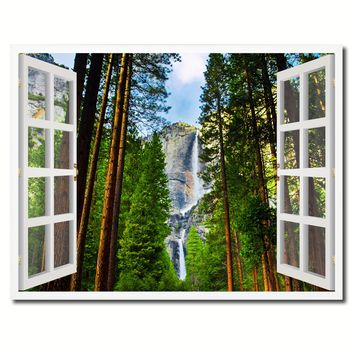 Waterfalls Yosemite National Park California Picture French Window Framed Canvas Print Home Decor Wall Art Collection