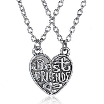 Best Friends Geometric Puzzle Heart Necklace pendant Stainless Steel Necklace 2 piece broken necklace for women men jewelry