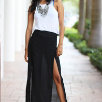 Sheer Black Slit Skirt