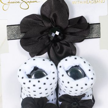 Jessica Simpson Baby Booties & Headband Polka Dot Floral Set