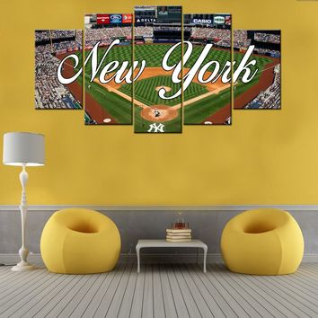 New York Yankees Stadium Baseball Framed Five Piece Canvas