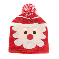 Red Cute Santa Claus Design Beanie Hat Of Knitted Set