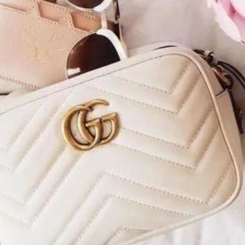 Gucci Women Shopping Chain Leather Crossbody Satchel Shoulder Bag F white
