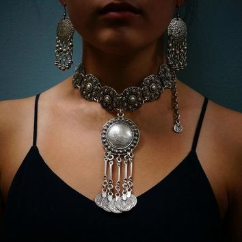 Boho Vintage Coin Pendant Necklace, Silver Gypsy Tribal Ethnic Choker