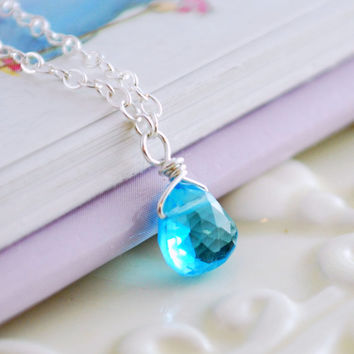 Bright Swiss Blue Topaz Jewelry Child Gemstone Necklace Children Genuine Flower Girl Sterling Silver December Birthstone