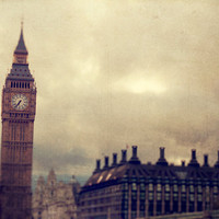 SALE 30% OFF London Photo. fine art. wall art. travel Big Ben, England, UK. beige textured sky clouds dusk clock architecture 6x9