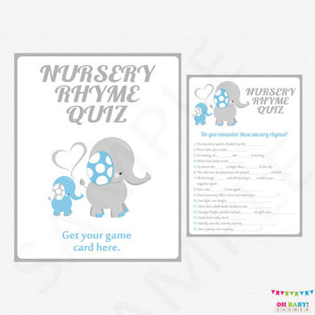 Blue Elephant Baby Shower, Nursery Rhyme Quiz, Elephant Baby Games, Boy Baby Shower Game, Printable Baby Shower, DIY Baby Shower, ELLBG