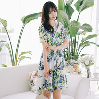 White Floral Short Sleeve Dress