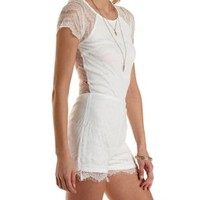White Raglan Cap Sleeve Lace Romper by Charlotte Russe