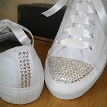 "Adult leather ""Bling"" converse with matching ribbon shoelaces to match. Super cute fo"