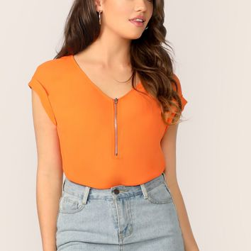 Half Zip Front Cuffed Sleeve Solid Blouse