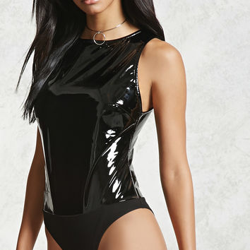 Faux Patent Leather Bodysuit