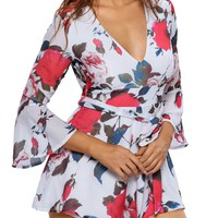 Casual Deep V-Neck Back Hole Floral Printed Romper