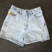 Vintage faded washed out Blue Denim Jean Shorts 90s distressed Jean Shorts 1990s Vintage PEPE Shorts Womens size 11 12