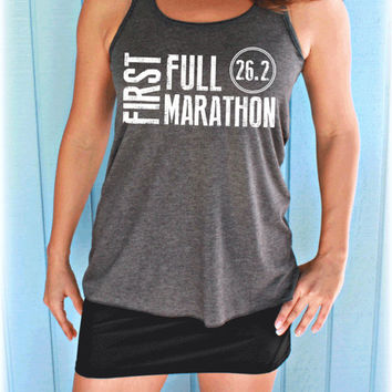 Womens Flowy First Full Marathon 26.2 Race Workout Tank Top. Fitness Motivation. Running Tank Top. Gift for Runner.