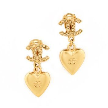Chanel Heart Dangle Clip On Earrings (Previously Owned)