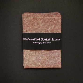 Rust red chambray pocket square – linen and cotton mans handkerchief – rustic and modern mens country wedding hankie