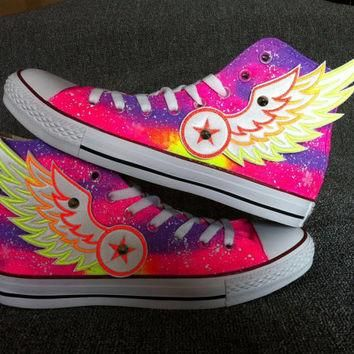 Galaxy Custom Converse with Wings/Galaxy Converse Sneakers/ Hand-Painted On  Converse S