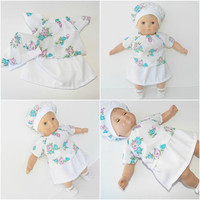 "FREE SHIPPING, bitty baby clothes, EASTER skirt hat blouse, floral flower, girl, or 15"" twin doll, White Turquoise Lavender, handmade"